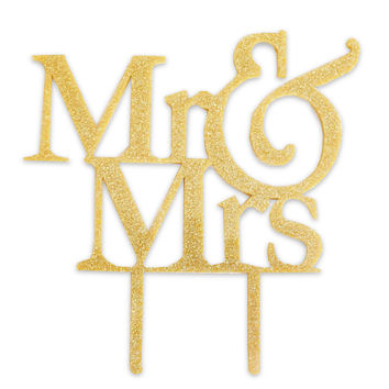 Mr and Mrs Gold Glitter Wedding Cake Topper Laser Cut Acrylic Bride and Groom Wedding Cake Decoration