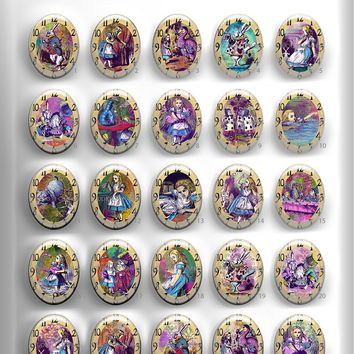 40x30, 18x25, 13X18 Resin Cameo LOW DOME Cabochon. Alice in Wonderland 2 Color Clock