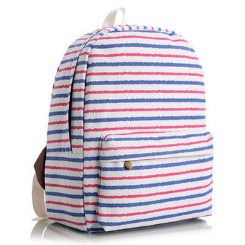 Korean Canvas Stripes Animal Cute Floral Striped Lovely Backpack = 4887614660