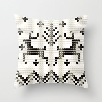 Deer Pillow Cover, Fair Isle Print, Black and white pillow, snowflake christmas pillow, winter decor, rustic decor 18x18 inches