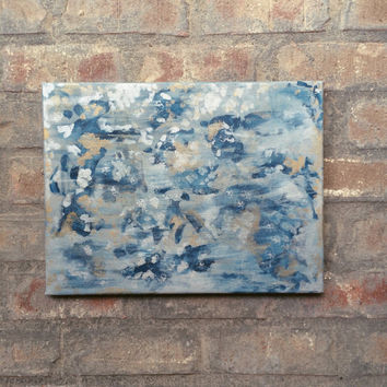 Abstract painting, silver and gold painting, Blue and silver and gold art