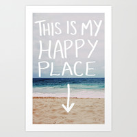 My Happy Place (Beach) Art Print by Leah Flores