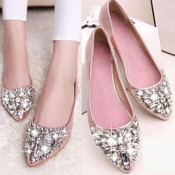 HOT SELLING Rhinestone Women Flats Fashion Flats Shoes Women Ballet Princess Shoes Lad