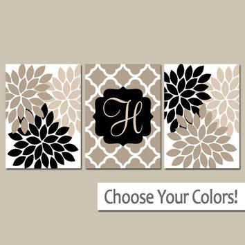 Tan Black Wall Art, Monogram Family Name, Tan Bedroom Pictures, Tan Bathroom Artwork, CANVAS or Prints Set of 3 Wedding Gift, Home Decor