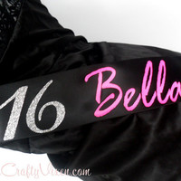 Personalized Sweet 16 Birthday Quinceanera Sash by TheCraftyVixen