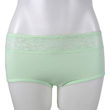LADIES COTTON BIKINI EXTENDED SIDE SEAM WITH LACE AT FRONT WAISTBAND