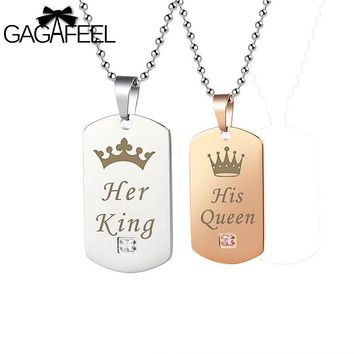 Cool GAGAFFEL Engrave Custom Couple Necklace Dog Tag Military Army Cards Jewelry Her King & His Queen Silver Stainless Steel BraceletAT_93_12