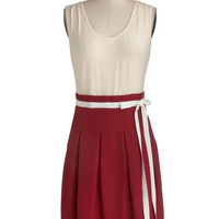 Pink Martini Mid-length Tank top (2 thick straps) Twofer Scenic Road Trip Dress in Cream and Cranberry