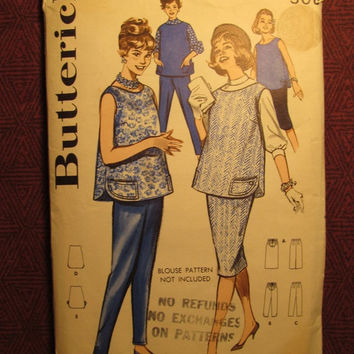 SALE Complete 1960's Butterick Sewing Pattern, 9447! Size 16 Bust 36 Maternity Pullover Tops/Blouses/Shirts/Straight Skirts/Expandable Waist