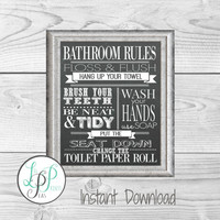 Bathroom Rules Chalkboard Print, Bathroom Wall Decor, Vintage Style Bathroom Decor, Bathroom Chalkboard, Washroom Print, Powder Room Art,