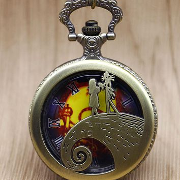 The Nightmare Before Christmas Sally Jack Skellington Color Dial Quartz Pocket Watch Necklace Mens Women Xmas Gift & Box TD2049