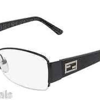 NEW AUTHENTIC FENDI F877 COL 001 BLACK EYEGLASSES FRAME F 877 SEMI RIM