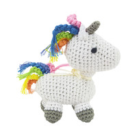 Dog Teeth Cleaning Cotton Crochet Squeaky Dog Toy for Small Dog - Magic Unicorn