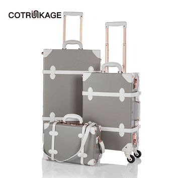 """COTRUNKAGE 13"""" 20"""" 26"""" Grey Travel Suitcase Sets Ladies Pu Leather 3 Piece Womens TSA Vintage Trolley Luggage Trunk with Wheels"""