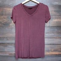 not so basic vintage acid wash v neck tshirt in burgundy
