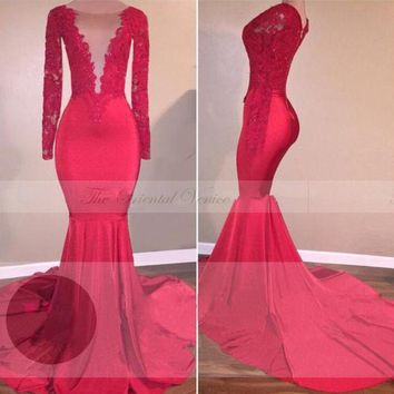 Plunging V-Neck Lace Appliques Long Sleeve Mermaid Red Prom Dress 2017 Elegant Long Women Formal Dresses Evening Party Gowns