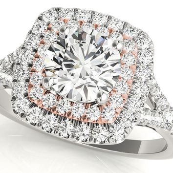 Aura™ 14K White Gold 3/4ct.tw Diamond Double Halo Ring