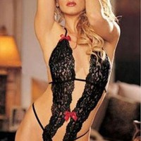 Siamese Sweet Bowknow Halter Lingerie Set Crotchless Conjoined Net
