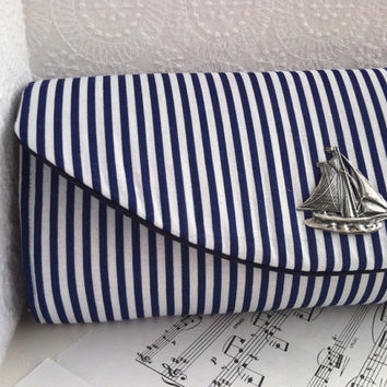 Nautical navy blue clutch bag with silver ship, striped clutch, nautical wedding.