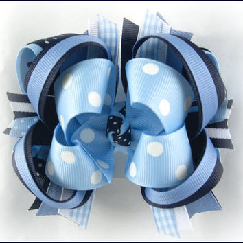 Boutique stacked bow, Girls hair bows, Blue bow, Toddler hairbow, Boutique hair bow, Hair bows for girls, Over the top bow, Blue hairbow