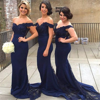 New 2016 Sexy Navy Blue Burgundy Off the Shoulder Mermaid Bridesmaid Dresses Long Beaded Appliques Wedding Party Dresses