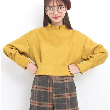 MUSTARD CROPPED TOP by Drive Store