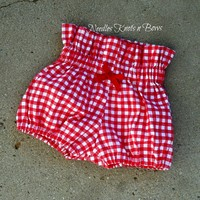 Girls Red Gingham Bloomers, Baby Girls Red Country Bloomers, Boho Style Red Bloomers