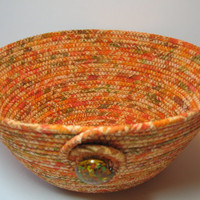 Handmade Coiled Fabric Bowl, Fall Colors