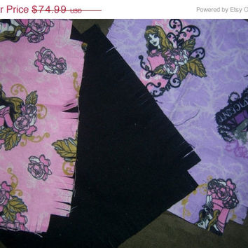 Maleficent flannel rag quilt kit Princess Aurora Sleeping Beauty fringed die cut fabric squares and batting