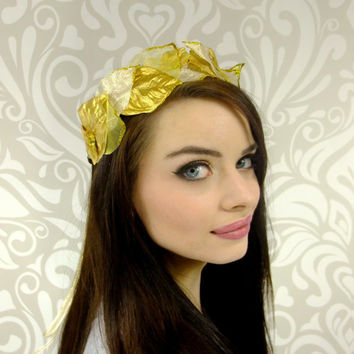 Gold Leaf Crown, Gold Crown, Greek Goddess, Elven Headpiece, Crown Of Laurels Gold Flower Crown, Gold Leaf Circlet, Hair Wreath, LOTR, Crown