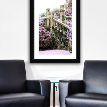 Large Format Purple Gardens Print, Crumbling Gothic Staircase Artwork, Lavender and Mint Green Photo, Bleak House Series, Limited Edition