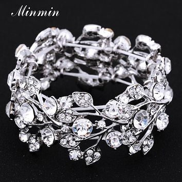 Crystal Leaf Silver Color Bridal Bracelets for Women  Fashion Wedding Jewelry