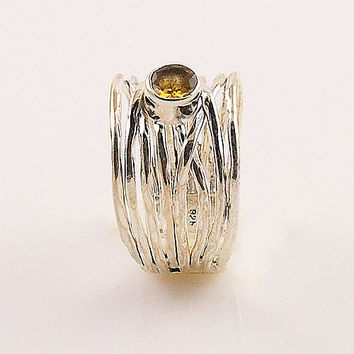 Citrine Sterling Silver Adjustable Ribbons Ring