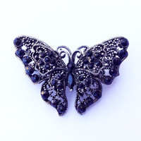 Black Rhinestone Butterfly Brooch Winged Insect Figural Fashion Jewelry