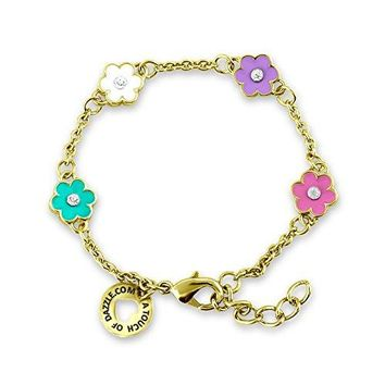 AUGUAU Flower and Crystal Charm Bracelet for Girls and Kids Jewelry Sets Fashion Jewelry for Girls 18k Gold Plated