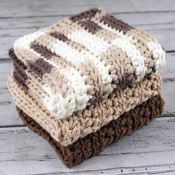 Set of 3 - Crocheted Variegated Brown Tan by ronisboutique on Zibbet