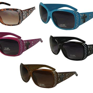 Texcyngoods Womens Sunglasses Bling Frame with Cross 100% UV Protection