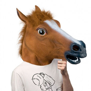 New Creepy Horse Mask Head festival Costume Theater Prop Novelty Latex Rubber