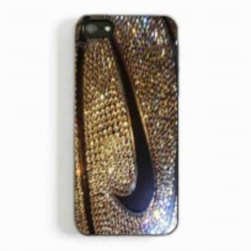 Nike Logo Swoosh on Golden Glittery Basketball for iphone 5 and 5c case