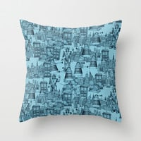 Doctor Who Toile de Jouy | 'Walking Doodle' | Turquoise Throw Pillow by Sharon Turner