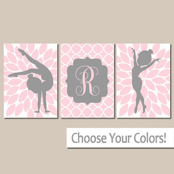 GYMNASTICS Wall Art, Girl Bedroom Pictures, Pink Gray, Personalized Girl Gift, Girl Nursery Artwork, Set of 3, Canvas or Prints, Decor