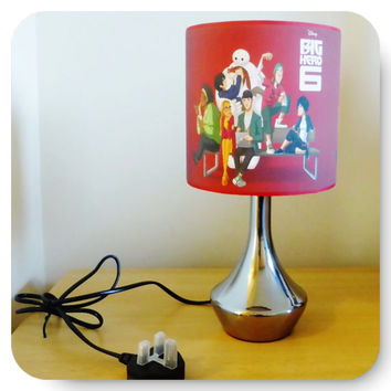 Handcrafted Big Hero 6 bedside lamp / lamp shade & base ~ boys / girls bedroom (red)
