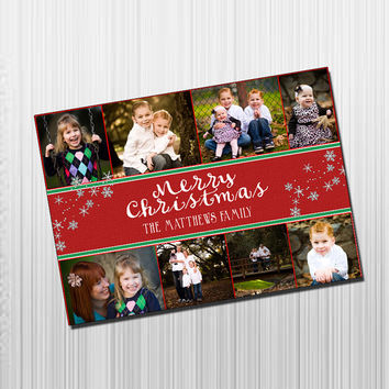 Custom Photo Holiday Card - Digital File Photo Holiday Card - Red, Green and Snowflakes