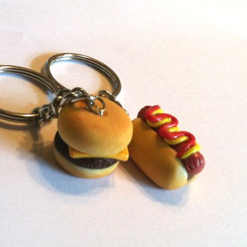 Cheeseburger and Hot Dog Best Friends Key Chains, Polymer Clay Food Accessories