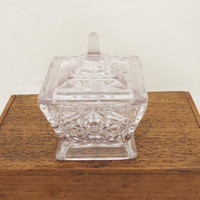 Vintage Art Deco Pale Lavander Glass Trinket Box/Powder Jar/Jewelry box, Dressing Table Set, UK Seller