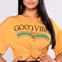 Always Good Vibes Tee - Mustard