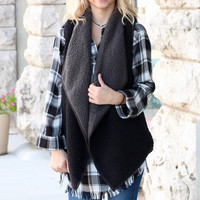 Two Tone Fully Sherpa Vest {Black+Grey}