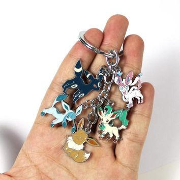 Metal Keychain Eevee Leafeon Glaceon Sylveon Umbreon Pendants Figure Toys With Blister Card