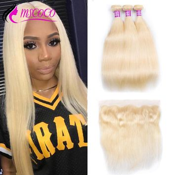Mscoco 613 Bundles With Frontal Peruvian Hair Blonde 3 Bundles With Closure Remy Straight Human Hair Blonde Bundles With Frontal