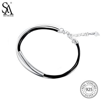 SA SILVERAGE None Party Real 925 Sterling Leather Bangle Bracelet For Women Fine Jewelry Two Layer Jade Bangle 2018 New Design